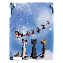 Christmas, Cute Cats Looking In The Sky To Santa Claus Apple Ipad 3/4 Hardshell Case by FantasyWorld7