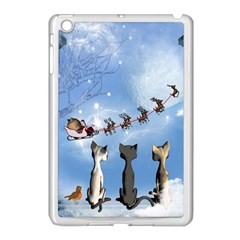 Christmas, Cute Cats Looking In The Sky To Santa Claus Apple Ipad Mini Case (white) by FantasyWorld7