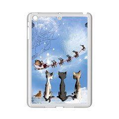 Christmas, Cute Cats Looking In The Sky To Santa Claus Ipad Mini 2 Enamel Coated Cases by FantasyWorld7