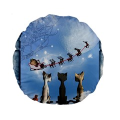 Christmas, Cute Cats Looking In The Sky To Santa Claus Standard 15  Premium Round Cushions by FantasyWorld7