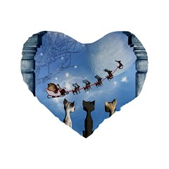 Christmas, Cute Cats Looking In The Sky To Santa Claus Standard 16  Premium Heart Shape Cushions by FantasyWorld7