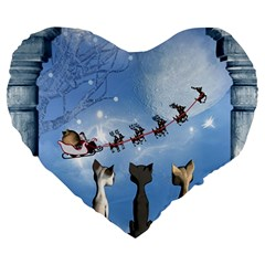 Christmas, Cute Cats Looking In The Sky To Santa Claus Large 19  Premium Heart Shape Cushions by FantasyWorld7