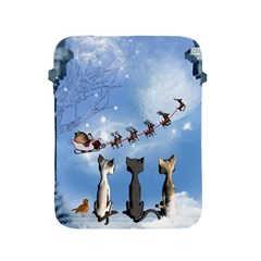 Christmas, Cute Cats Looking In The Sky To Santa Claus Apple Ipad 2/3/4 Protective Soft Cases by FantasyWorld7
