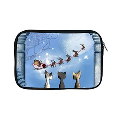 Christmas, Cute Cats Looking In The Sky To Santa Claus Apple Ipad Mini Zipper Cases by FantasyWorld7
