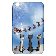 Christmas, Cute Cats Looking In The Sky To Santa Claus Samsung Galaxy Tab 3 (8 ) T3100 Hardshell Case  by FantasyWorld7