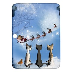 Christmas, Cute Cats Looking In The Sky To Santa Claus Samsung Galaxy Tab 3 (10 1 ) P5200 Hardshell Case  by FantasyWorld7