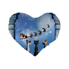 Christmas, Cute Cats Looking In The Sky To Santa Claus Standard 16  Premium Flano Heart Shape Cushions by FantasyWorld7