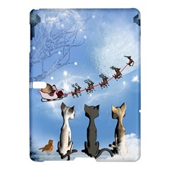 Christmas, Cute Cats Looking In The Sky To Santa Claus Samsung Galaxy Tab S (10 5 ) Hardshell Case  by FantasyWorld7