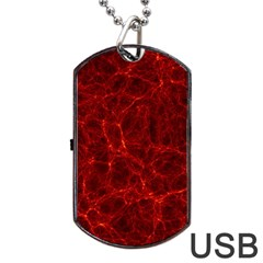 Simulation Red Water Waves Light Dog Tag Usb Flash (one Side) by Mariart