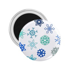 Snowflakes Blue Green Star 2 25  Magnets by Mariart