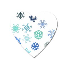 Snowflakes Blue Green Star Heart Magnet by Mariart
