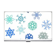 Snowflakes Blue Green Star Business Card Holders by Mariart