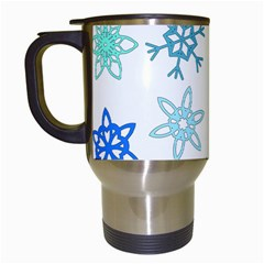 Snowflakes Blue Green Star Travel Mugs (white) by Mariart