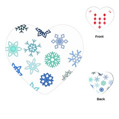 Snowflakes Blue Green Star Playing Cards (heart)