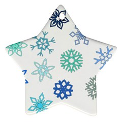 Snowflakes Blue Green Star Star Ornament (two Sides) by Mariart