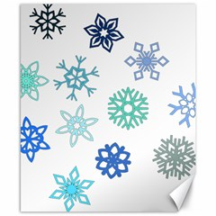 Snowflakes Blue Green Star Canvas 8  X 10  by Mariart