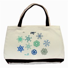 Snowflakes Blue Green Star Basic Tote Bag (two Sides) by Mariart