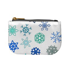 Snowflakes Blue Green Star Mini Coin Purses by Mariart