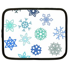 Snowflakes Blue Green Star Netbook Case (xxl)  by Mariart