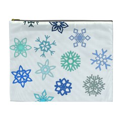 Snowflakes Blue Green Star Cosmetic Bag (xl) by Mariart