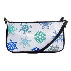 Snowflakes Blue Green Star Shoulder Clutch Bags