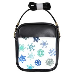Snowflakes Blue Green Star Girls Sling Bags by Mariart