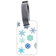 Snowflakes Blue Green Star Luggage Tags (one Side)  by Mariart