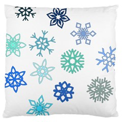 Snowflakes Blue Green Star Large Cushion Case (one Side) by Mariart