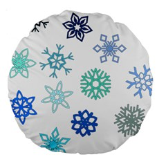 Snowflakes Blue Green Star Large 18  Premium Round Cushions by Mariart