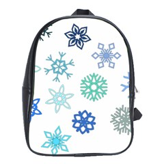 Snowflakes Blue Green Star School Bag (xl) by Mariart