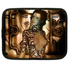 Steampunk, Steampunk Women With Clocks And Gears Netbook Case (xl)  by FantasyWorld7