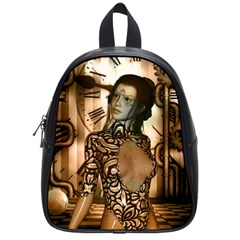 Steampunk, Steampunk Women With Clocks And Gears School Bag (small) by FantasyWorld7