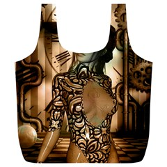 Steampunk, Steampunk Women With Clocks And Gears Full Print Recycle Bags (l)  by FantasyWorld7