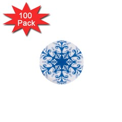 Snowflakes Blue Flower 1  Mini Buttons (100 Pack)