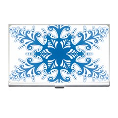 Snowflakes Blue Flower Business Card Holders by Mariart