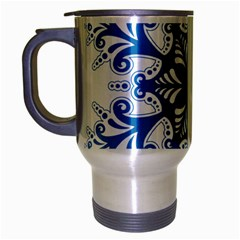 Snowflakes Blue Flower Travel Mug (silver Gray) by Mariart