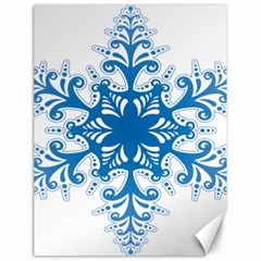 Snowflakes Blue Flower Canvas 18  X 24   by Mariart