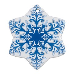 Snowflakes Blue Flower Snowflake Ornament (two Sides) by Mariart