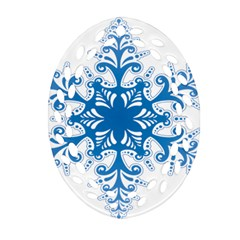 Snowflakes Blue Flower Oval Filigree Ornament (two Sides) by Mariart