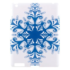 Snowflakes Blue Flower Apple Ipad 3/4 Hardshell Case by Mariart