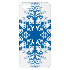 Snowflakes Blue Flower Apple Iphone 5 Hardshell Case by Mariart