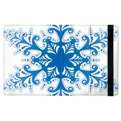 Snowflakes Blue Flower Apple Ipad 3/4 Flip Case by Mariart