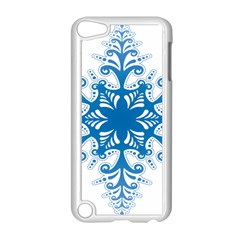 Snowflakes Blue Flower Apple Ipod Touch 5 Case (white) by Mariart