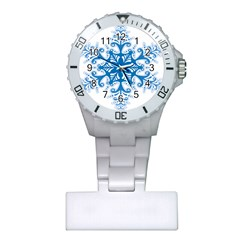 Snowflakes Blue Flower Plastic Nurses Watch by Mariart