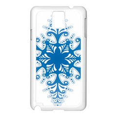 Snowflakes Blue Flower Samsung Galaxy Note 3 N9005 Case (white)