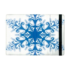 Snowflakes Blue Flower Ipad Mini 2 Flip Cases by Mariart