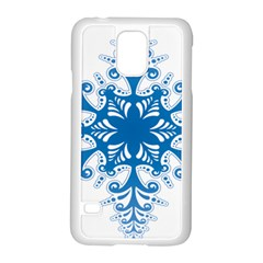 Snowflakes Blue Flower Samsung Galaxy S5 Case (white) by Mariart