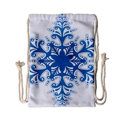 Snowflakes Blue Flower Drawstring Bag (small) by Mariart
