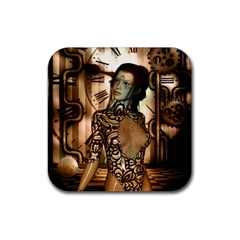 Steampunk, Steampunk Women With Clocks And Gears Rubber Coaster (square)  by FantasyWorld7