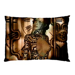 Steampunk, Steampunk Women With Clocks And Gears Pillow Case (two Sides) by FantasyWorld7